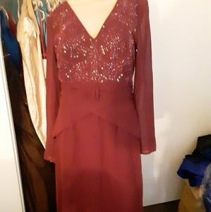 Burgundy mother of the bride dress,formal gown